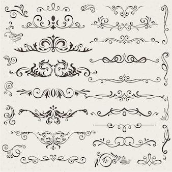 Insieme di elementi di design calligrafico e decorazioni di pagina.