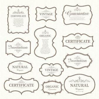 Set di elementi di design vintage etichette e cornici calligrafici