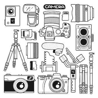 Imposta il doodle disegnato a mano dell'elemento della fotocamera