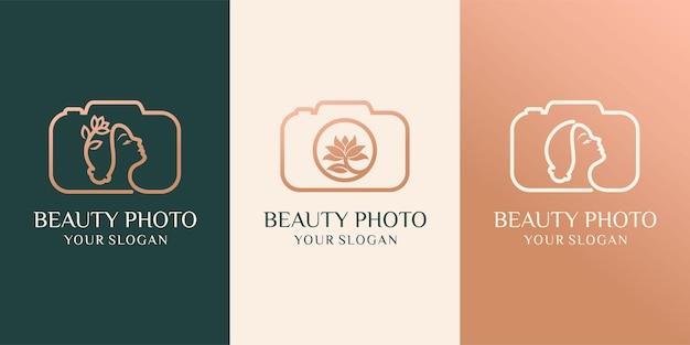 Set di macchina fotografica, studio fotografico della natura e illustrazione vettoriale del logo della foto di bellezza