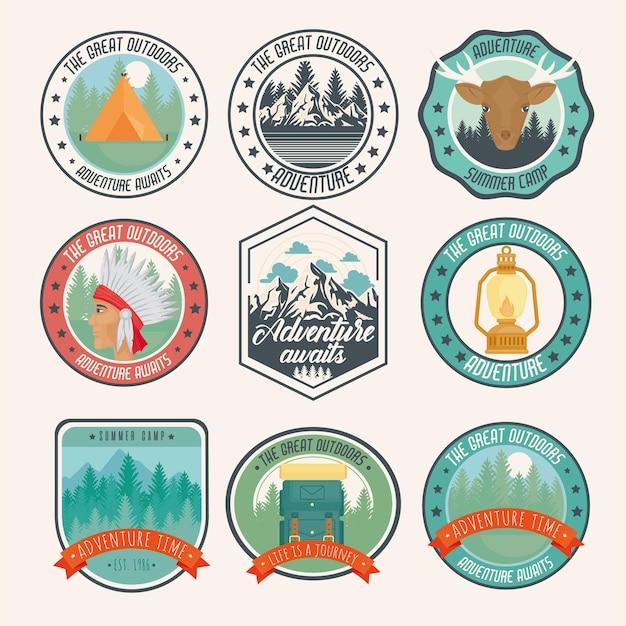Set di badge da campeggio