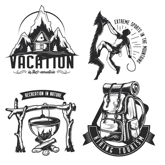 Set di emblemi da campeggio, etichette, distintivi, loghi
