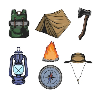 Set di elementi di attrezzatura da campeggio e vettore