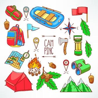 Set di attrezzature da campeggio. illustrazione di disegno a mano