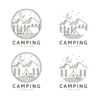 Set di logo da campeggio o illustrazione modello di disegno vettoriale monoline o line art style