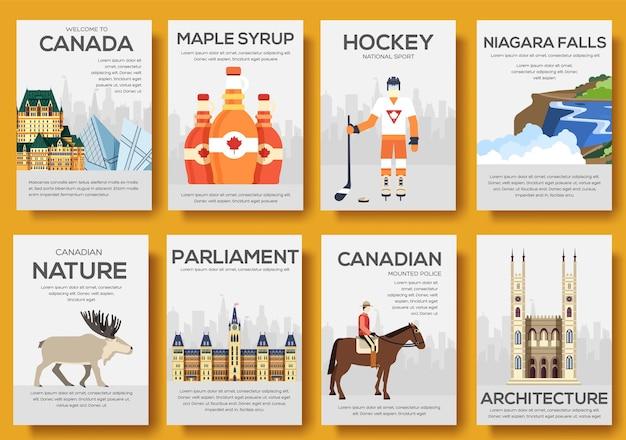 Set di viaggio viaggio ornamento paese canada. arte tradizionale, poster, astratto, banner, elemento.