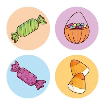 Set di caramelle su cornici rotonde illustrazione vettoriale design