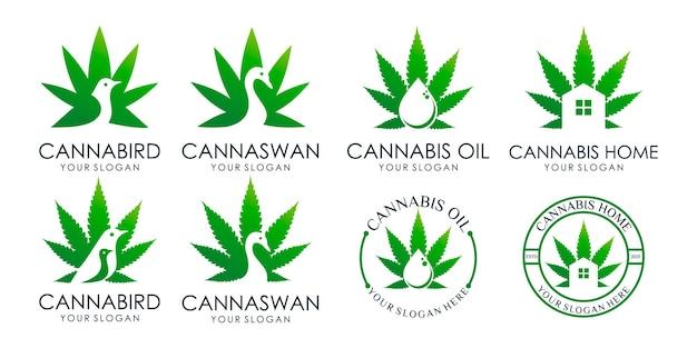 Set di foglie di cannabis, uccelli, cigni, casa, olio, logo creativo. modello di progettazione del logo vettore premium