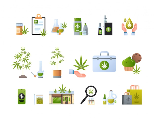 Impostare prodotti cannabis icone concetto di consumo di droga marijuana legalizzazione segno raccolta orizzontale piatta