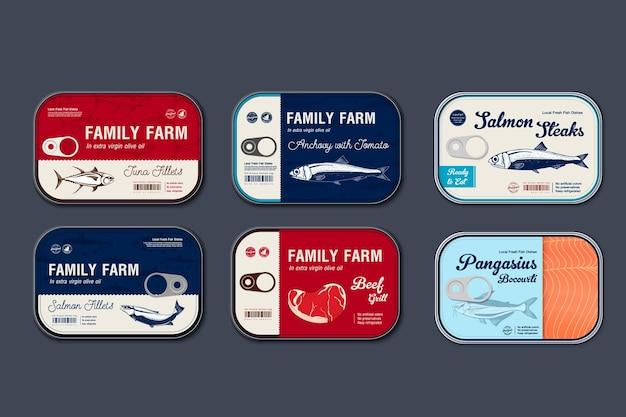 Impostare il modello di etichetta di carne e pesce in scatola, lattina di latta di carne e pesce vettoriale con coperchio dell'etichetta, concetto di design dell'imballaggio