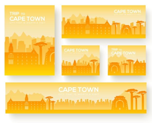 Set di tour di viaggio dell'ornamento del paese del paesaggio di città del capo