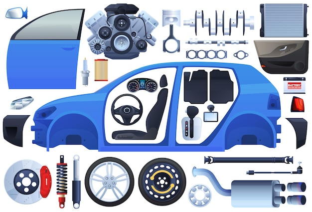 Set di parti di automobili. carrozzeria, telaio, motore, ruote, sospensioni, interni, sedile.