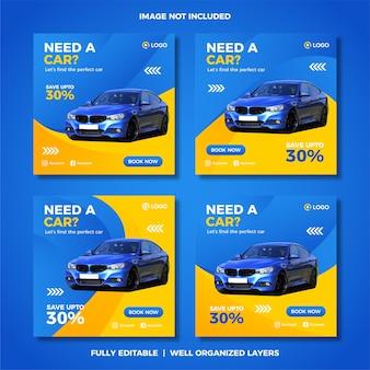 Set di modello di post di social media di noleggio auto.