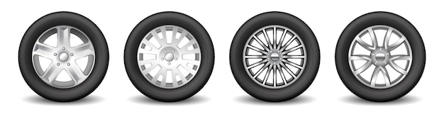 Set di ruote di scorta per cerchioni auto con dischi lucidi in lega e pneumatici protettivi in gomma. ruota di trasporto e concetto di messa a punto. illustrazione vettoriale 3d realistica