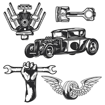 Set di elementi di servizio auto per creare badge, loghi, etichette, poster, ecc.
