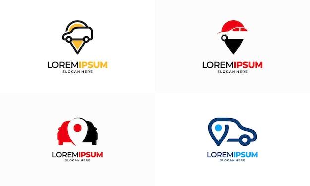 Insieme di vettore di progettazione del modello di logo del negozio di auto, vettore di progettazione del modello di logo del cercatore di punti dell'automobile