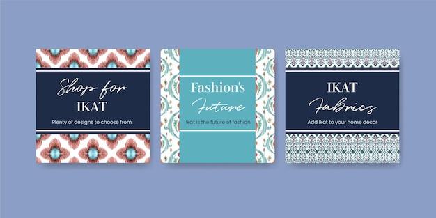 Set di modelli di carte con il concetto di ikat in stile acquerello
