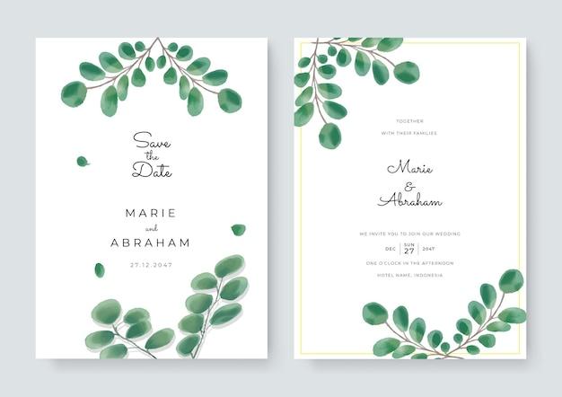 Set di carte con fiori, foglie acquerello. concetto di ornamento di nozze. poster floreale, invito. cartolina d'auguri decorativa di vettore o priorità bassa di disegno dell'invito. acquerello a pennello con decoro floreale