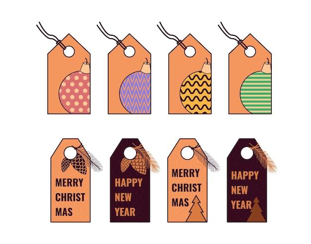 Set di etichette natalizie in cartone per regali moduli vuoti per dolci auguri nomi o prezzi stile artigianale