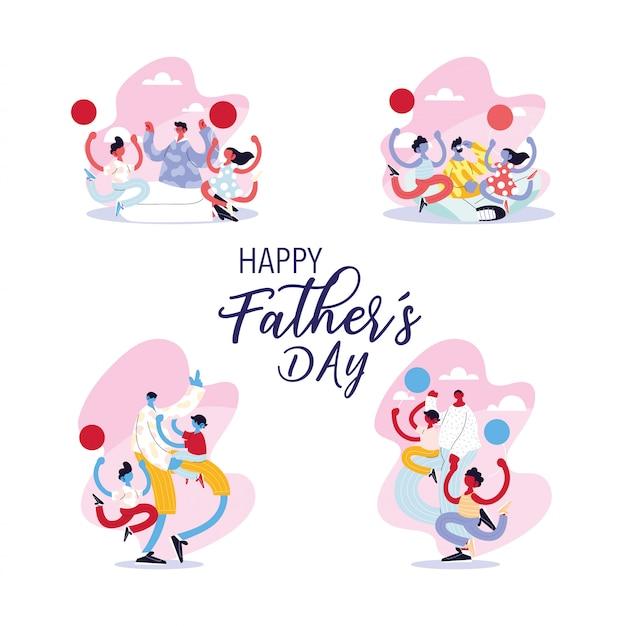 Set di carte della festa del papà felice