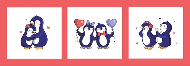 Il set di carte per san valentino. collezione di pinguini cartoonish