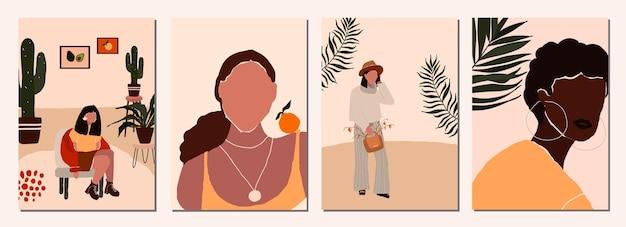 Set di carte con personaggi femminili moderni astratti