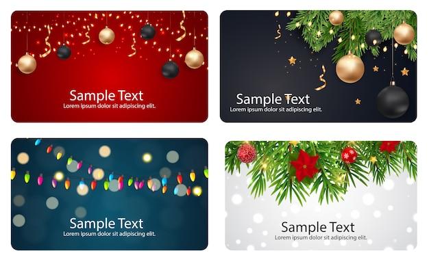 Set di carte con stelle di sfere di natale e fiocchi di neve