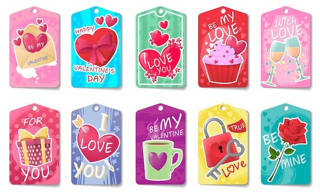 Set di carte con attributi festivi per san valentino