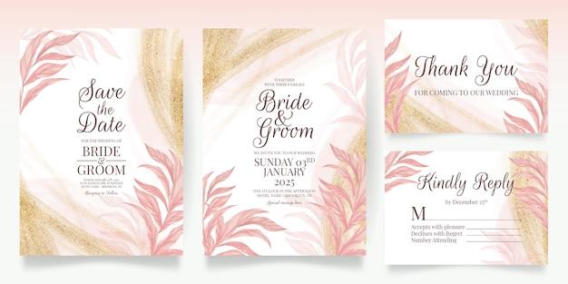 Impostare le carte con decorazione floreale rosa invito a nozze modello design foglie glitter