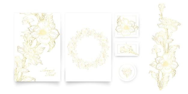 Un set di carte con un ornamento floreale in oro. set romantico