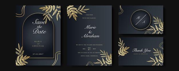 Set di carte con decorazione floreale line art. disegno del modello di invito a nozze di foglie tropicali d'oro di lusso e sfondo nero. illustrazione botanica per salvare la data, l'evento, la copertina, il vettore