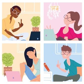 Set di carte con persone che lavorano da casa, illustrazione di telelavoro