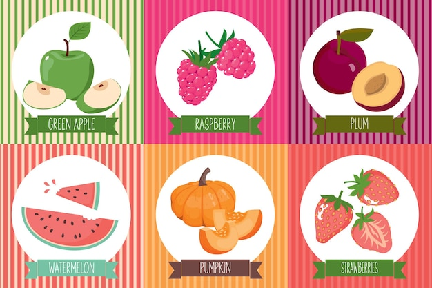 Un set di carte con cibo vegetariano nella cornice. vettore, isolato, sfondo bianco.