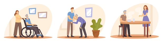 Impostare il concetto di assistenza agli anziani. giovani cura degli anziani. badante che porta cibo, aiuta a camminare e spinge la sedia a rotelle. supporto, aiuto e assistenza ai personaggi anziani. fumetto illustrazione vettoriale