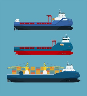 Set di navi da carico. illustrazione vettoriale.