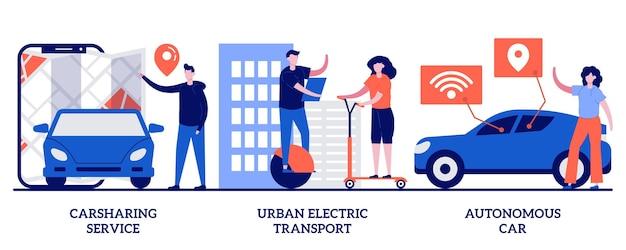 Set di servizio di car sharing, trasporto elettrico urbano, auto autonoma, città urbana