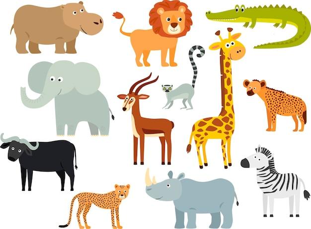 Insieme degli animali africani del fumetto. una giraffa, un leone, un elefante, una zebra, un ippopotamo, un lemure, un bufalo, un ghepardo, un'antilope, una iena.