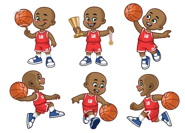 Insieme del giocatore di basket del ragazzino africano dei cartoni animati