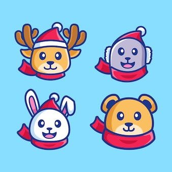 Set di cartone animato animale indossare sciarpa stagione invernale
