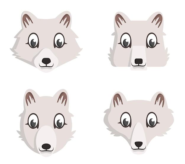 Set di volpi artiche del fumetto. diverse forme di teste di animali.