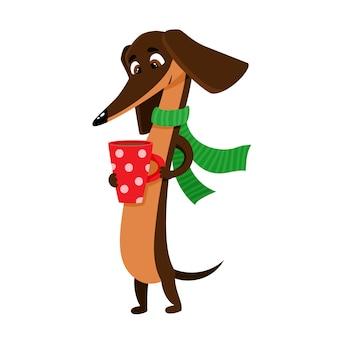 Set di bassotto marrone divertente del fumetto isolato su bianco, simpatico, cane divertente, personaggio di cucciolo con una tazza di tè caldo, caffè e sciarpa