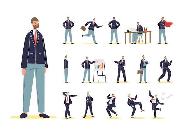 Set di uomo d'affari del fumetto in abbigliamento formale al lavoro. personaggio maschile in tuta in diverse emozioni e situazioni lavorative: sul posto di lavoro, presentazione principale, ballo. illustrazione vettoriale piatta