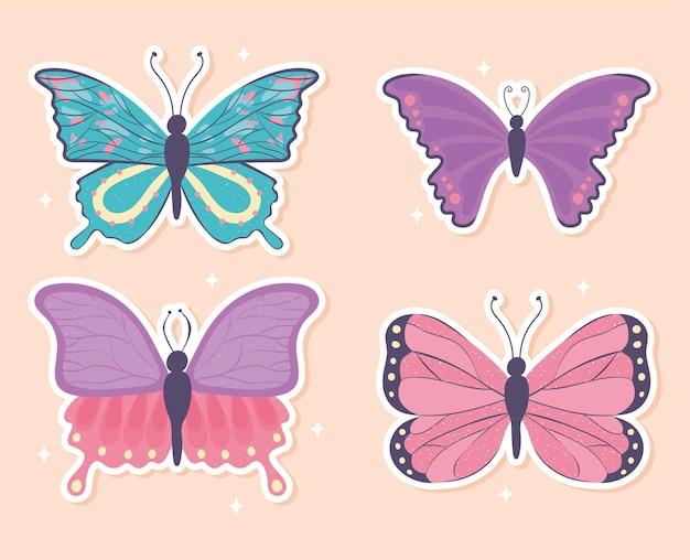 Set di farfalle dei cartoni animati