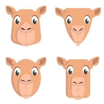 Set di cammelli dei cartoni animati. diverse forme di teste di animali. Vettore Premium