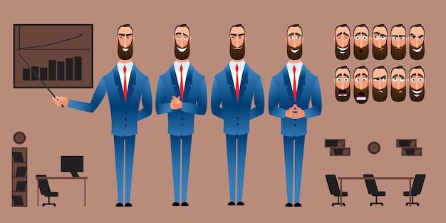 Set di espressioni del personaggio dei cartoni animati. volto emotivo. varianti di emozioni. illustrazione di vettore di stile piano isolato su priorità bassa dell'ufficio. l'uomo d'affari presenta un'idea.