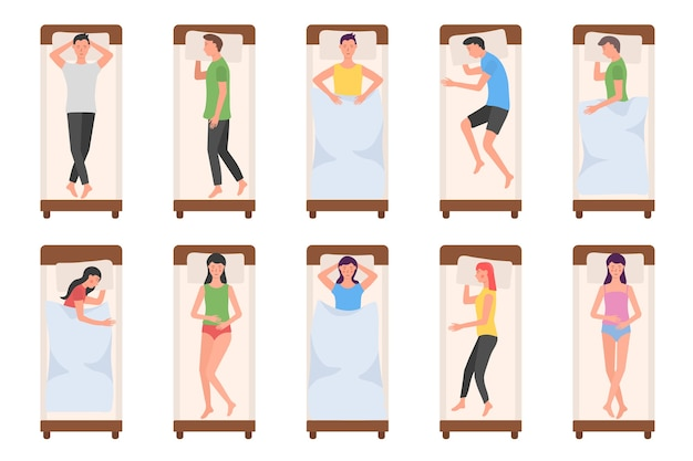 Set di personaggio dei cartoni animati che giace in diverse pose durante il sonno notturno.