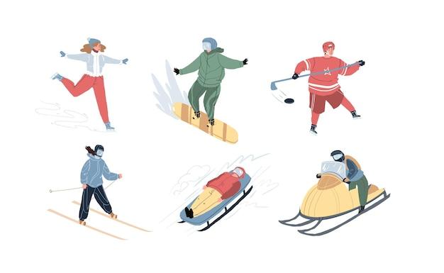 Set di personaggi dei cartoni animati che fanno attività sportive all'aperto a pattinaggio invernale, hockey, sci, bob