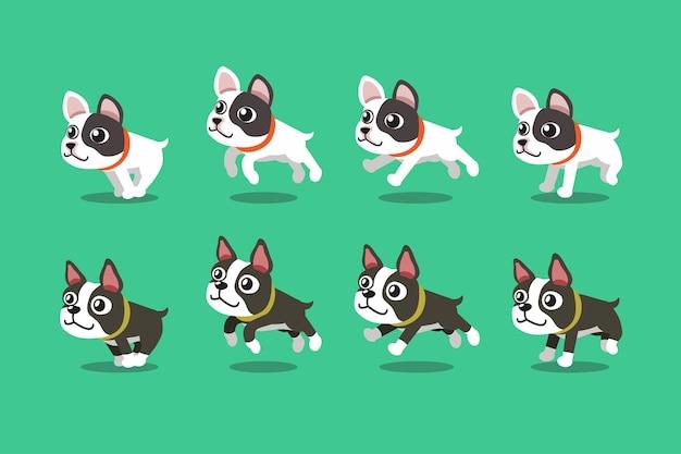 Set di personaggi dei cartoni animati bulldog francese e cani boston terrier in esecuzione