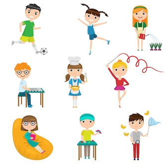 Impostare i bambini dei cartoni animati con diversi hobby su sfondo bianco