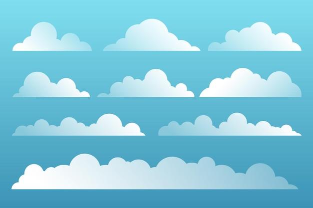 Set di nuvole dei cartoni animati